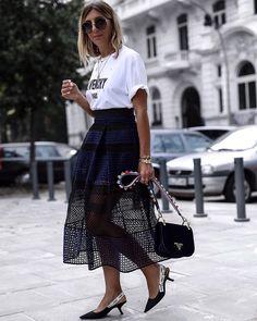 #aylin_koenig #white #tshirt #black #bag #skirt
