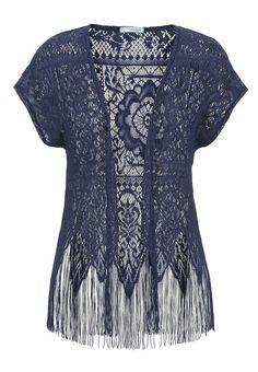 Open Lace Fringe Bottom Cardigan - Blue