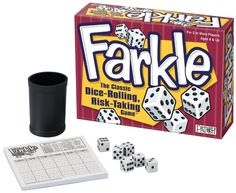 Farkle - The classic dice rolling game that is a riot to play. You can also take take 6 of your own dice and look up the rules for Farkle on Wikipedia :) Best Family Board Games, Family Fun Games, Family Game Night, Best Games, Thing 1, Games To Buy, Camping Games, Dice Games, Take Risks