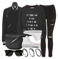 """""""Style #9932"""" by vany-alvarado ❤ liked on Polyvore featuring Yves Saint Laurent, Topshop, Madewell, Converse, DesignSix and Ray-Ban"""