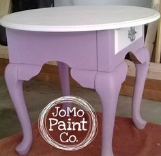 Side Table painted in Annie Sloan Henrietta and Old White Annie Sloan Painted Furniture, Annie Sloan Paints, Upcycled Furniture, Vanity Bench, Chalk Painting, Table, Gallery, Home Decor, Decoration Home