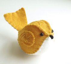 Mustard Yellow Embroidered Wool Felt Bird by SeaPinks on Etsy, $14.00