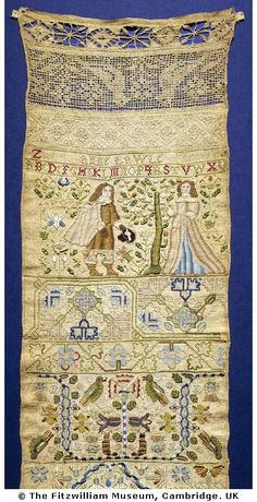 17th Century, English by Anne Lawle at The Fitzwilliam Museum  Linen pictorial band sampler embroidered with polychrome silks in cross, Montenegrin cross, double running, satin, split, trellis and detached buttonhole stitch. Linen thread is worked in the hem and double running, counted satin and eye stitch with needle weaving, and drawn and cutwork with needle lace filling stitches make up the top band of the sampler.