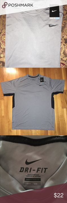Awesome Nike Dri-Fit Grey & Black Top NWT XXL Beautiful Nike Dri-Fit men's grey and black top. Dri-Fit material is highly comfortable and wicks away sweat. New with tag! Size XXL Nike Shirts