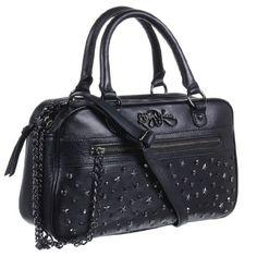Amazon.com: Betsey Johnson Super Stars Womens Satchel Leather Handbag Black: Clothing