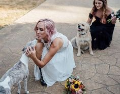 Brides and pets, wedding separates, bride with pink hair Unique Dresses, Separates, Our Love, Pink Hair, Beautiful Bride, Brides, Wedding Day, Pets, Modern