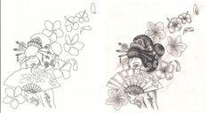 Freebies Tattoo Designs Geisha with Flowers by TattooSavage