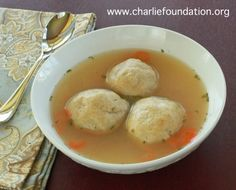 No-Matzo Ball Soup - Charlie Foundation Passover Recipes, Jewish Recipes, Hanukkah Recipes, Soup Recipes, Keto Recipes, Keto Foods, Matzo Meal, Sugar Free Maple Syrup, Sugar Free Sweets
