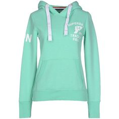 Superdry Sweatshirt (€74) ❤ liked on Polyvore featuring tops, hoodies, sweatshirts, light green, sweatshirts hoodies, green sweatshirt, sweat tops, long sleeve tops and logo sweatshirts