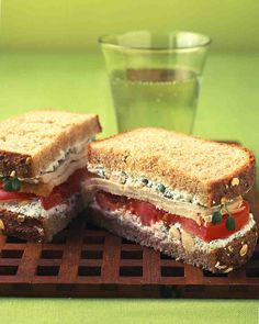 Turkey Sandwich With Herbed Farmer Cheese, Sprouts, and Tomato Recipe