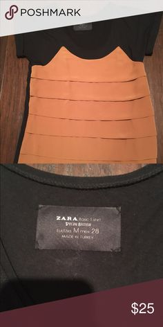 Zara Black and Caramel top Zara black and caramel mixed fabric top.(the orange looking color is actually a very pretty caramel color) Zara Tops