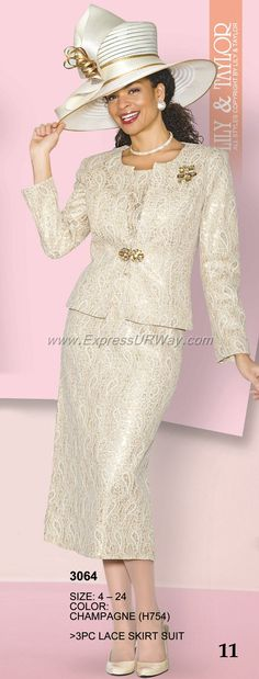 Mode Collection by Lily and Taylor for Spring 2014 - www.ExpressURWay.com - Lily and Taylor Mode, Womens Suits, Womens Designer Suits, Ladies Suits, Suits For Women, Church Suits, Spring 2014( Not the hat)
