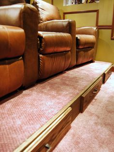 Storage under your home theater seating.