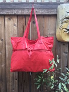 VINTAGE Robinson's 80s RED Leather Large Shoulder Tote Satchel Bag Purse  | eBay