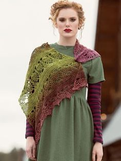Ananas Shawl Sale: $4.79 - Pineapple lace alternates with solid panels in this sideways crocheted triangular shawl.