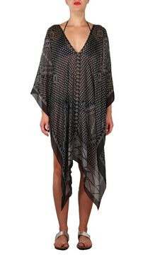 Black and White Silk Kharum Regular Poncho White Silk, Black And White, Personal Style, Cover Up, How To Wear, Collection, Xmas, Dresses, Fashion