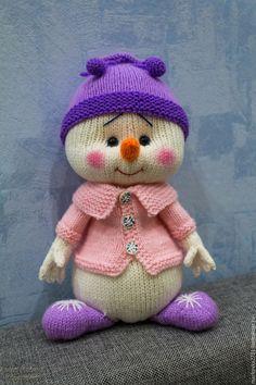Купить Мастер класс по вязанию снеговичка Сиренька - сиреневый, снеговик, снеговик спицами, снеговичок