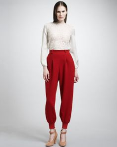 Love the pants----Floral Lace Blouse & Felted Wool Jog Pants by Chloe at Neiman Marcus.