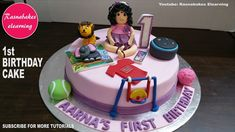 first or or 1 year birthday cake design ideas decorating tutorial video at home classes courses Easy Kids Birthday Cakes, Simple Birthday Cake Designs, 1st Birthday Cake For Girls, Simple Cake Designs, Homemade Birthday Cakes, Baby Birthday Cakes, Cake Decorating For Kids, Cake Decorating Classes, Decorating Ideas
