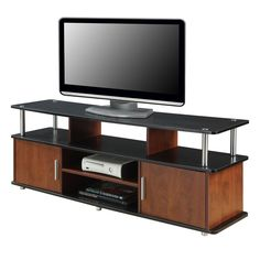 "TV Stand Cabinet Console Entertainment Center Storage Two Tone Wood for 60"" TVs #CCInc #Modern"