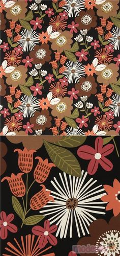 black heavy oxford cotton fabric with flowers in brown, dark brown, light cream etc., Material: 100% cotton, Fabric Type: heavy oxford cotton fabric #Oxford #Flower #Leaf #Plants #USAFabrics