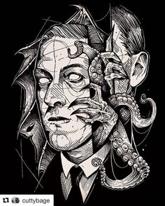 Another ridiculously amazing portrait piece by of hp lovecraft. Coming soon on some shirts. Hp Lovecraft, Lovecraft Cthulhu, Arte Horror, Horror Art, Cthulhu Tattoo, Cthulhu Art, Call Of Cthulhu Rpg, Lovecraftian Horror, Eldritch Horror
