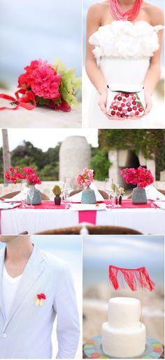Chic beach wedding with stunning coral details.  achangeoflatitude.net