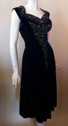 1950s beaded blue velvet dress, Dorothea's Closet Vintage archives