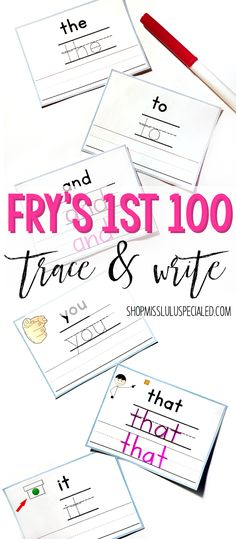 Practice handwriting & spelling with this set of Fry's 1st 100 trace and write cards. Students first trace then write each high frequency sight word. Great center or independent work activity.