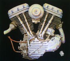Harley Davidson Hydra Glide 1200cc Acrylic on Canvas 130x125cm