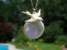 24k gold Sterling Silver Sparrow, Lustrous Coin Pearl and 14K Gold Filled Necklace