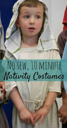 Need a last minute nativity costume, and can't sew. Take 1 adult t-shirt in the appropriate colour and ta da, a great nativity costume.