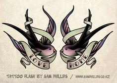 Swallow Tattoos - different colors and words