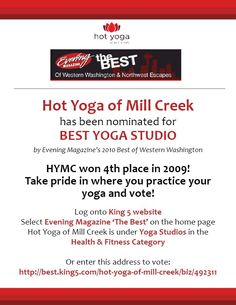 Hotyoga of Millcreek was nominated for Best Yoga Studio! Thank you to all of our wonderful students!
