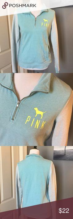 Light Blue PINK quarter zip 76% cotton 24% polyester PINK Victoria's Secret Tops Sweatshirts & Hoodies