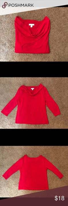 Charter Club Woman's Blouse Charter Club Cowl Neck 3/4 Sleeve Blouse Great Condition Worn Once Charter Club Tops Blouses