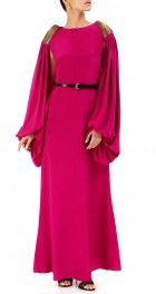 Magenta crepe gown