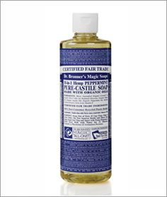 Dr. Bronners - Peppermint Liquid Soap - body wash - This makes a great foaming liquid hand soap. Just use an empty foaming liquid soap bottle, add 1-2 Tbsp. of soap and fill the rest with water. I have three kids and it's great to have a foaming liquid soap that doesn't conatin triclosan or any other nasty chemiclas. It also has a nice, refreshing, peppermint smell
