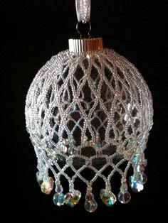Swarovski Clear Crystal Beaded Net Ornament by SparklesnThings, $50.00 #beads #craffs #ecrafty eCrafty.com