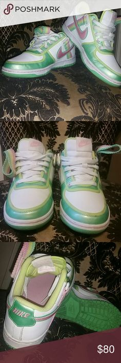 "Nike ICE CREAM low dunks sz 6Y (8 woman) Gorgeous pastel ""ice cream"" low dunks circa 2008 In excellent condition from a smoke and pet free home  Size 6 Y is an 8 in women's  Pastel green  (light and dark), pink and yellow over white shoe, green sole, some veryight wear but no damage, marks ,holes or rips. The white is still white and laces are clean...ice cream paint job. Nike Shoes Sneakers"