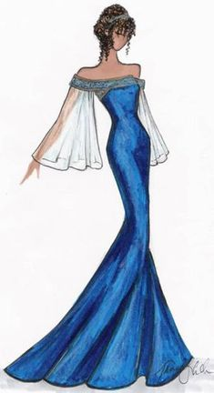 New Blue Bridal Gown Sketch
