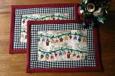 Christmas mug rugs quilted placemats set of by BlueberryHillQuilts, $14.50