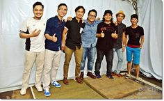 Sada Borneo members (from left) percussionist Hilmi Isa, 24, from Kedah, keyboardist Alvin Yong, 24, from Sabah, leader and sape player Hallan Hashim, 24, from Miri, guitarist Julian Frederick, 22, from Kuching, bassist Nick Fadriel, 22, from Limbang, lead guitarist Hayree Hashim, 21, from Miri, and  a friend.