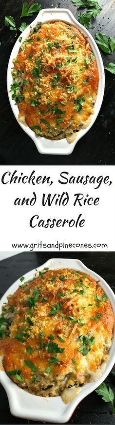 Chicken, Sausage, and Wild Rice Casserole is quick and easy to prepare, can be made ahead of time, freezes beautifully, and is delicious! #casserole via @gritspinecones