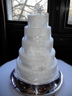 Elegant wedding cake with snowflakes