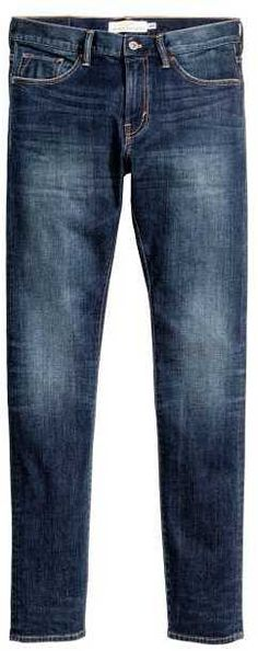 H&M - Skinny Low Jeans - Dark blue washed out - Men Low Rise Jeans, Brand Identity, Branding, Stretch Denim, Skinny Legs, Dark Blue, Stylish, Men's Jeans, Pants