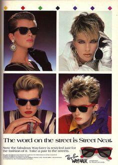 Always Wayfarer and Studio Line gel Ray Ban Wayfarer, Wayfarer Sunglasses, Sunglasses Sale, 80s Short Hair, Short Hair Styles, 80s Ads, Wholesale Sunglasses, Vintage Ads, Vintage Makeup Ads