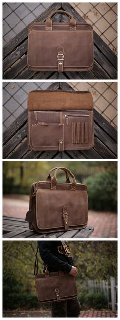 Handcrafted Antique Style Top Grain Leather Mens Briefcase Messenger Bag Laptop Bag 6020