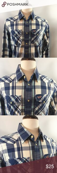 Hollister Men's Large Casual Dress Shirt Hollister Men's Large Casual Dress Shirt. In very good pre used condition free of any rips or stains and from a pet free and smoke free home. In multicolored stripes long sleeves and push buttons throughout. Thanks for shopping with us! Hollister Shirts Casual Button Down Shirts