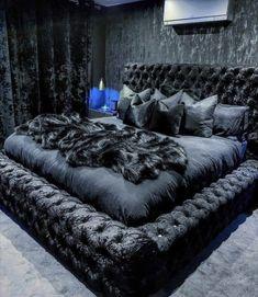 Dream House Interior, Home Interior, Room Ideas Bedroom, Home Decor Bedroom, Bedroom Furniture, Tufted Bed Frame, Velvet Bed Frame, Dream Rooms, Luxurious Bedrooms